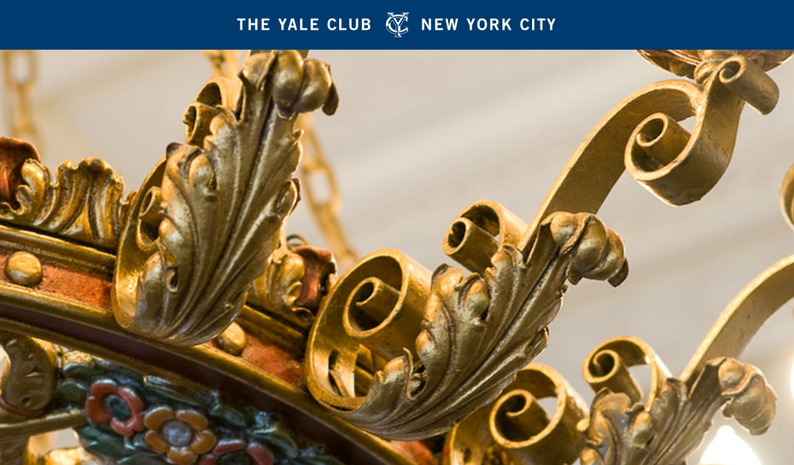 Graphic system elements – a blue bar with The Yale Club logo and image style – created to unify the private club marketing communications.