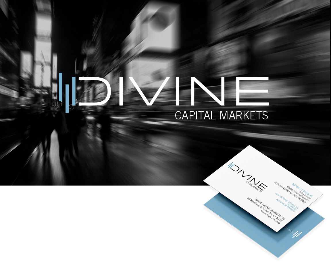 Financial services branding – logo design, image style and business papers – for Divine Capital.