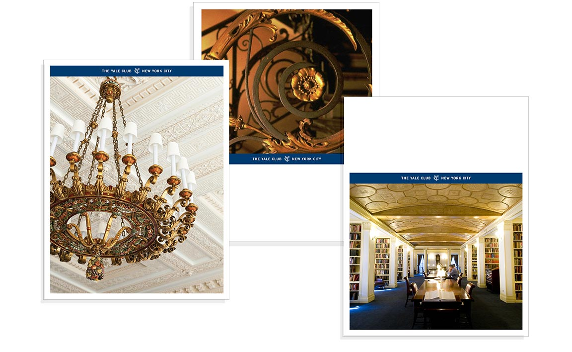 Examples of the underlying design grid that govern page layouts for the private club marketing communications of The Yale Club.