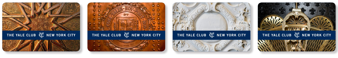 Design of The Yale Club room key cards showing application of graphic system elements.