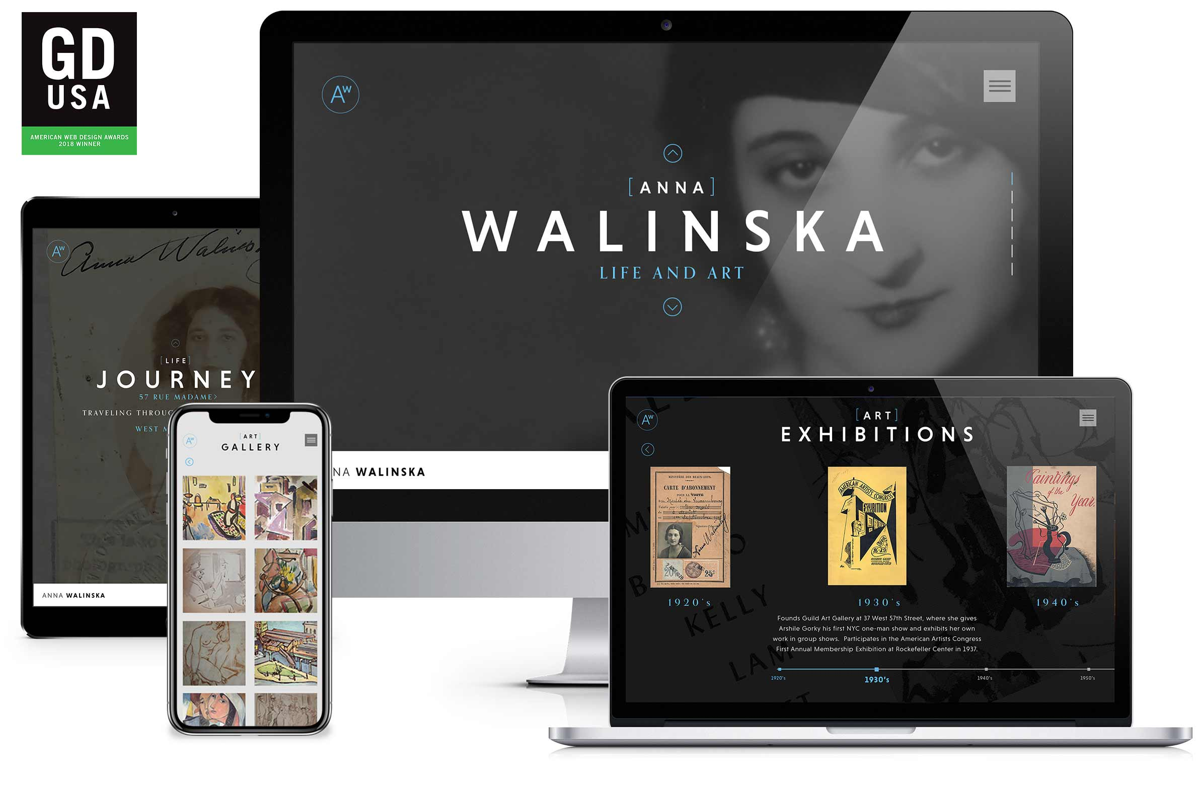 Website design and branding for Artist Anna Walinska – 2018 Graphic Design USA web design winner