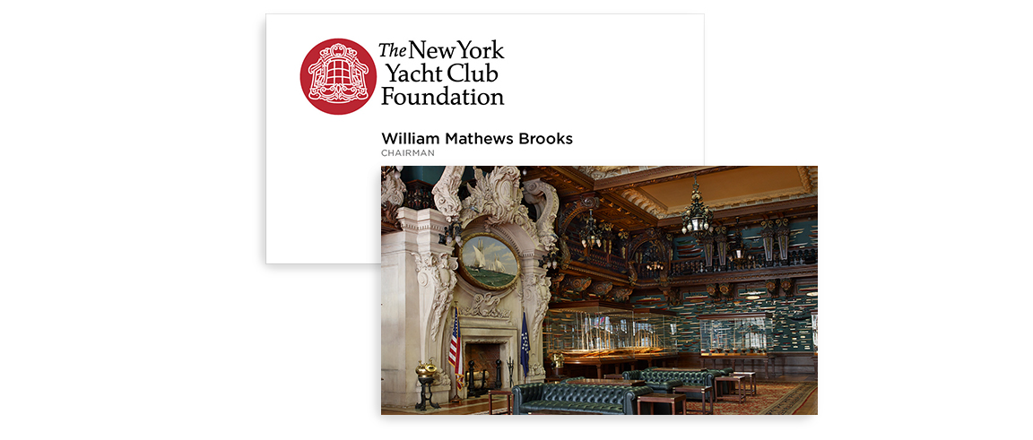 Business card design created as part of the rebranding for the nonprofit New York Yacht Club Foundation.