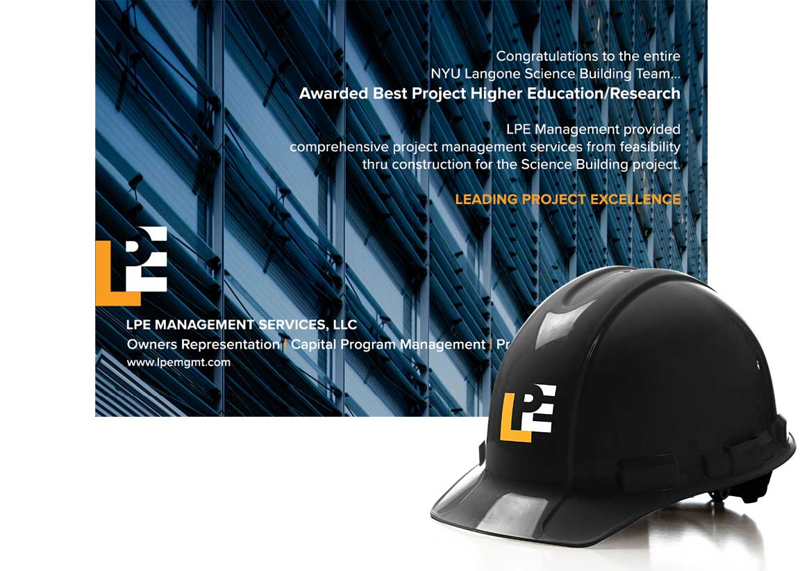 Application of the logo to an ad and hard hat created as part of the of the new brand for LPE Management Services.