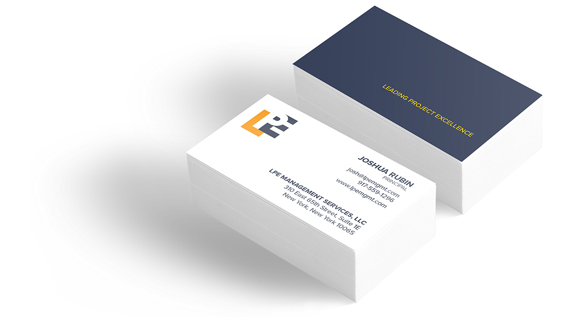 Business card design as part of the of the new brand for LPE Management Services.