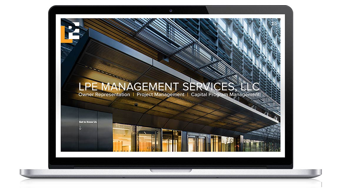 Website design created as part of the new brand for LPE Management Services.