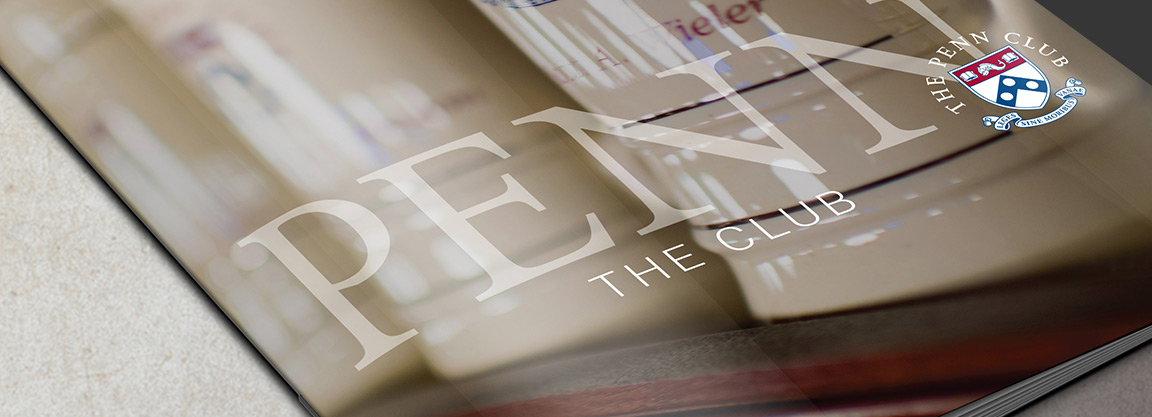 The Penn Club new brand identifier applied to the New Member Packet as part of the member club branding system.