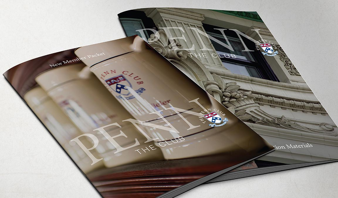 The Penn Club new brand identifier applied to the covers of membership marketing brochures as part of the member club branding system.