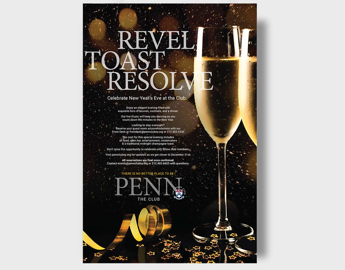 The Penn Club holiday poster showing application of the member club branding system.