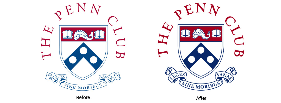 The Penn Club crest redrawn for better reproduction as part of the member club branding system.