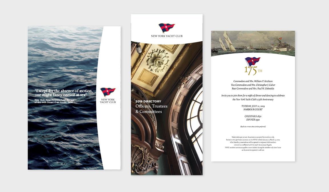 NY Yacht Club branding application to varous size brochures and invitations.