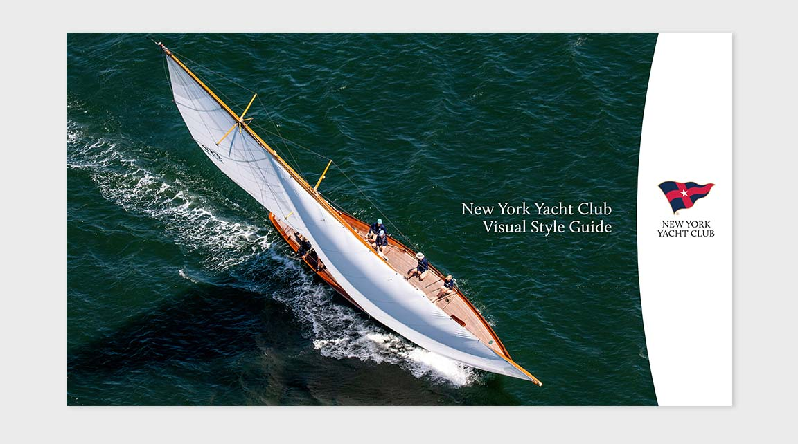 NY Yacht Club branding guidelines cover.