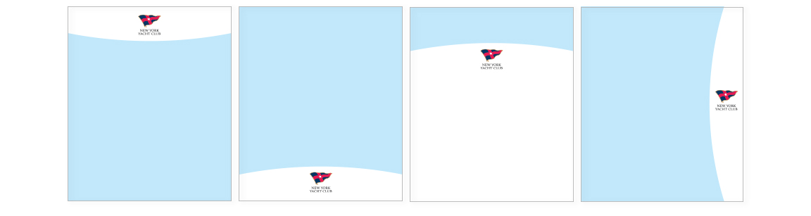 The NY Yacht Club branding page template samples based on the overall concept of hulls and sails.