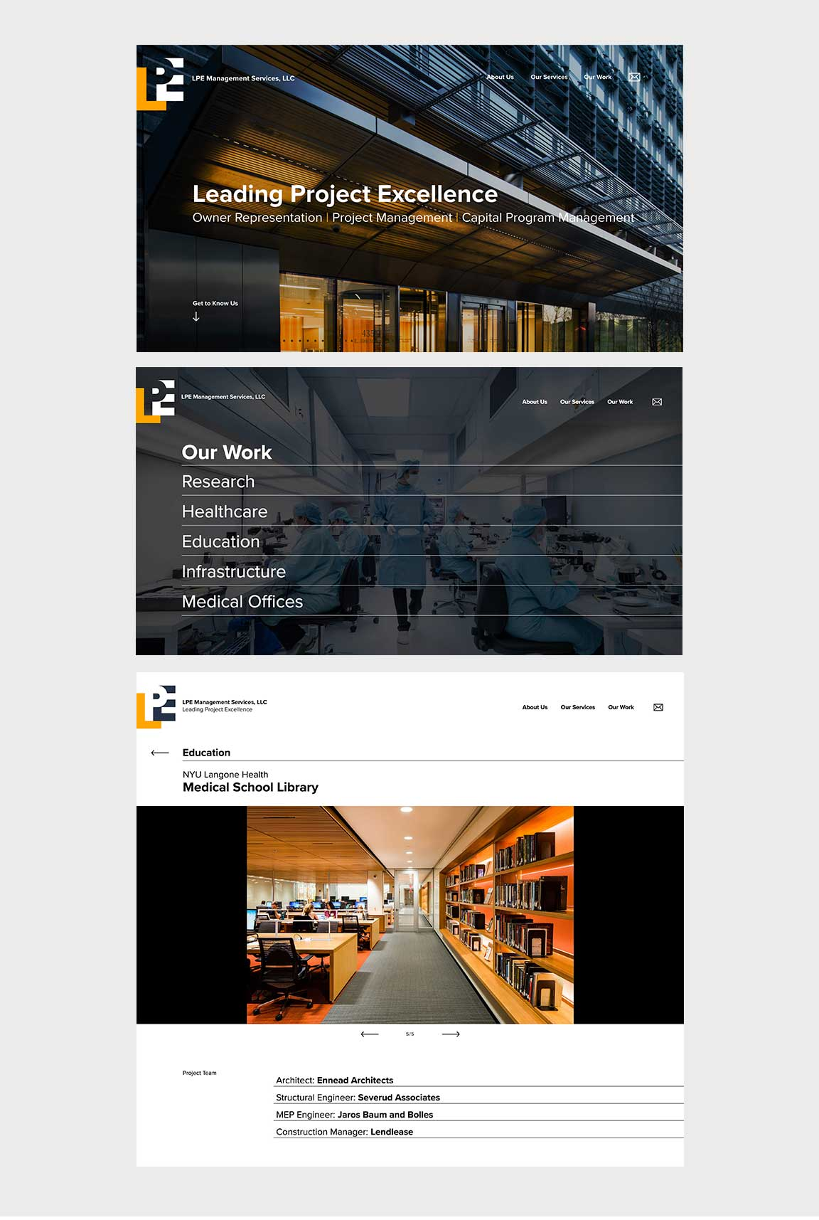 LPE Management Services website design as part of the overall brand identity created by Bernhardt Fudyma Design Group, NY